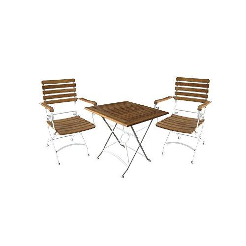 Flex Gartenset 3-Tlg. / Bistroset / Balkonset inkl. Klappfunktion / Akazie - natur/weiß