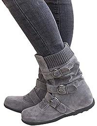 Decha Damen Stiefel Schnalle Flache Biker Boots Blockabsatz Schlupfstiefel  Flandell Gefüttert Warm 518be02e44