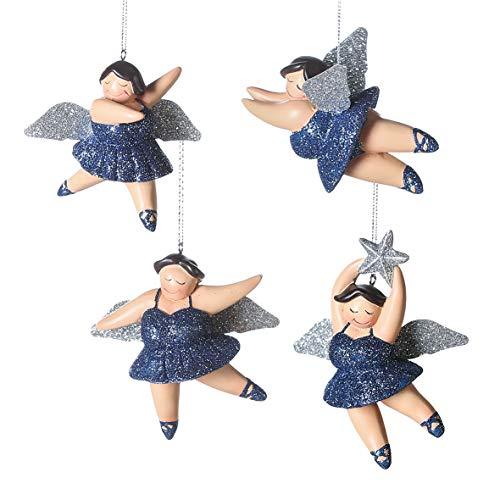 Casablanca Weihnachtsbaum-Hänger - Engel Betty - Nachtblau/Silber - 4er Set