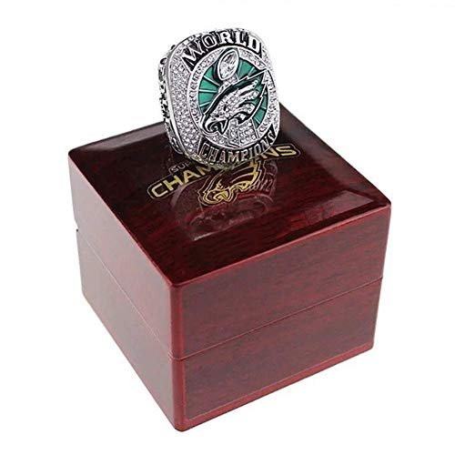 AMOH JERCY 2017-2018 New Philadelphia Eagles Football Super Bowl LII World Foles and Z.Meisterschaft Replica Ring mit Holzbox, 8