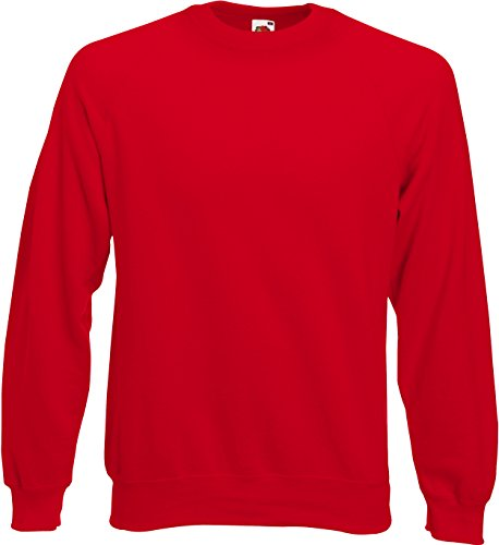 Fruit of the Loom Raglan Sweatshirt, Red, XXL XXL,Red