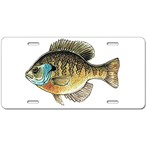 CafePress Bluegill Bream pesca aluminio placa de licencia – estándar Multi-color