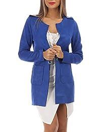 2c25bd64593 Amazon.fr   blouson daim - Bleu   Femme   Vêtements