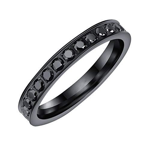 YBMEN Frauen übersichtliches Design 3MM Micro Pave Schwarz Zirkonia Stacking Ringe Wedding Bands für Training und Sport (Pave Diamond Wedding Ring)