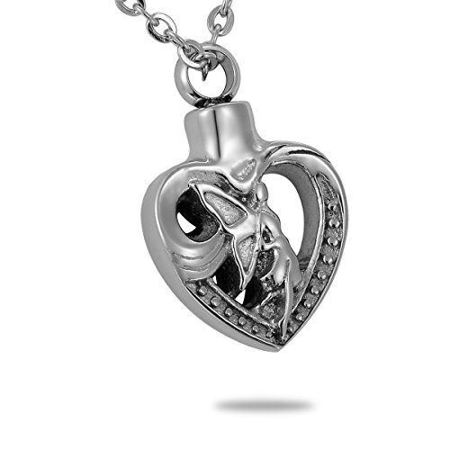 HooAMI ángel en corazón urna cenizas de recuerdo de collar joyas
