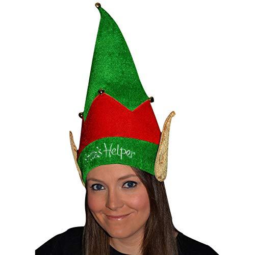 Theme Machine Christmas Santa's Helper Velvet Elf Hat with Bells and Ears Unisex Xmas Fancy ()