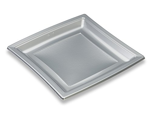 GUILLIN - QUADRIPACK ACF240NA SACHET DE 50 Assiette Carrée Réutilisable, Polystyrène, Nacre, 23,8 x 23,8 x 2 cm