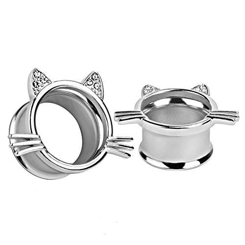KUBOOZ (1 Paar) süße Slivery Kätzchen Ohr Plugs Tunnel Messgeräte trage Piercings