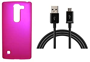 XUWAP Hard Case Cover With Data Cable For LG Spirit - Pink