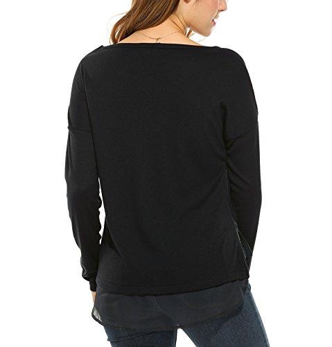 Beyove Damen Herbst Langarmshirt Chiffon Shirt Weiteres Rundhals Oberteil mit Reißverschluss Gespleißt Bluse Schwarz