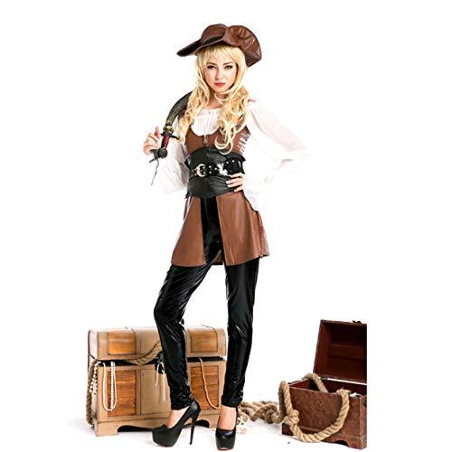 TUWEN Halloween KostüM Caribbean Pirate Outfit Weibliche StüCk EIN StüCk Rolle Spielen KostüM Leder Krieger KostüM Western Cowboy (Weibliche Caribbean Pirate Kostüm)