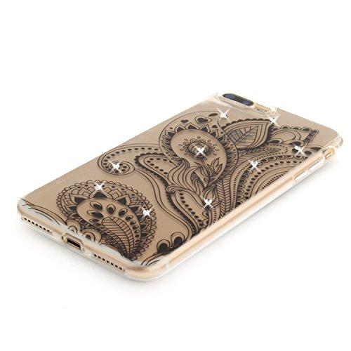 Per iPhone 7 Plus,Sunrive® Custodia Cover Case in molle Trasparente Ultra Sottile TPU silicone Morbida Flessibile Pelle Antigraffio protettiva(dente di leone) medusa