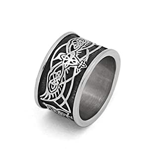 GuoShuang Nordic Wikinger Odin Raven Knoten Wolf Amulett Ringe mit Valknut Geschenkbeutel Edelstahl