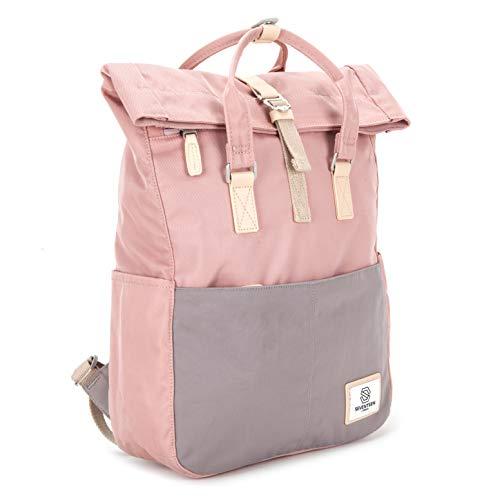 SEVENTEEN LONDON - Moderner und stilvoller 'Soho' Rucksack in rosa & grau mit einem klassischen gefalteten Roll Top Design - perfekt für 13-Zoll-Laptops - Rosa Laptop-rucksäcke