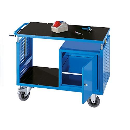 EUROKRAFT Montagewagen, höhenverstellbar - 1 Ablageboden, 1 Schrank mit Fachboden - lichtblau - Fahrbare Werkbank Fahrbarer Arbeitstisch Montagewägen Werkbank Werkbank fahrbar Werkstattwägen