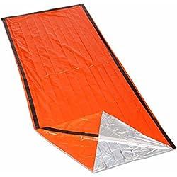 iZoeL Saco de Emergencia Bivvy Albergue Saco de Dormir Impermeable Reutilizable Portátil Supervivencia Outdoors Naranja
