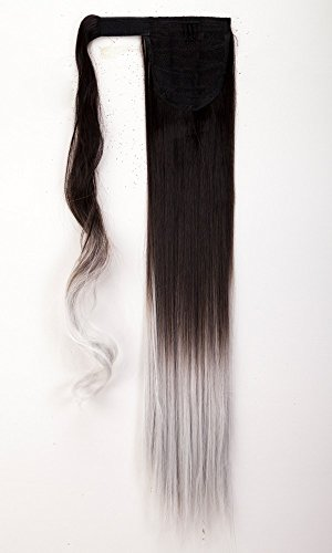 58,4 cm/60 cm straight wrap around ponytail clip in hair extensions ombre marrone scuro al grigio argento ponytails