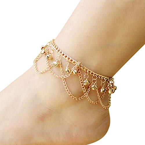 HIWSSH Gürtel-Vintage Silver Plated Anklets For Women Coin Charms Tassels Toe Ankle Bracelet Beach Chaine Cheville Femme Foot Jewelry Gold -