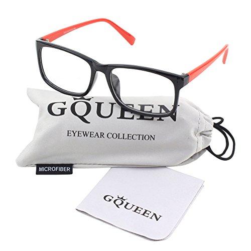 GQUEEN Legerer Modische Rechteckiger Rahmen Klare Gläser Eye Brille PO2