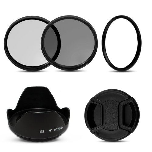 Omax Sx50 Hs Adaptor Ring with UV+Cpl+Flowerhood+Cap for Canon Powershot