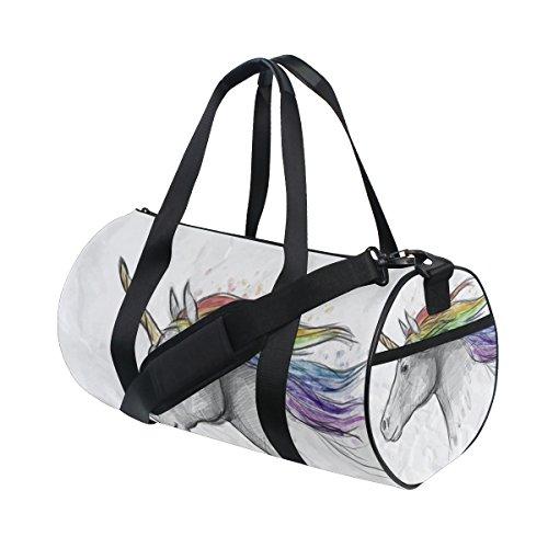 COOSUN Painted Unicorn Kopf Duffle Tasche Schulter Handy-Sport Gym-Taschen für Männer und Frauen Mittel Mehrfarben