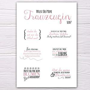 """A6 Postkarte """"Willst du meine Trauzeugin sein?"""" in weiß/rosa/grau Glanzoptik Papierstärke 235 g / m2 Geschenk für…"""