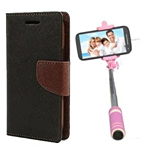 Aart Fancy Diary Card Wallet Flip Case Back Cover For Nokia 520 - (Blackbrown) + Mini Aux Wired Fashionable Selfie Stick Compatible for all Mobiles Phones By Aart Store