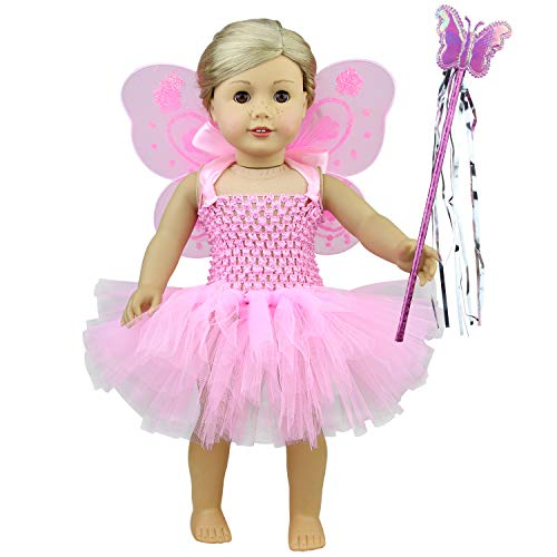 ZITA ELEMENT Puppenkleidung Kleider Tutu Kleider Zubehör für 18 Zoll Puppen 40-46 cm für Baby Puppe Fairy Angel Wings & Magic Wandkostüm Puppenkleider Mädchenpuppe Outfits Rosa (Babys Für Fairy Kleider)