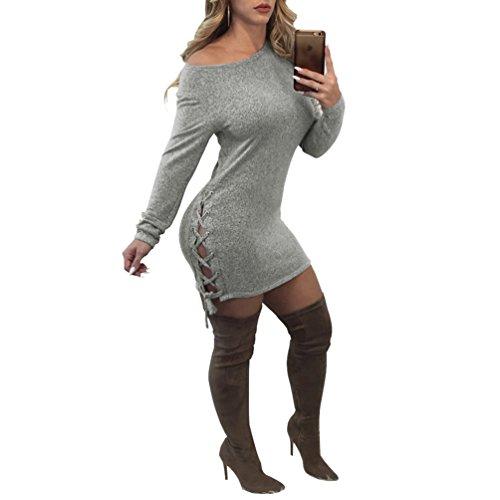 YiLianDa Maniche Lunghe Dress Donna Moda Maglione Mini Dress Vestito Da Festa Pullover Vestito Casual Felpa Vestiti Maglietta Camicia Vestitini Blusa Grigio