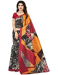 Rangreza Latest Design Women's Bhagalpuri Art Silk Black And Mustard Graphic Printed Saree With Contrast Colours.