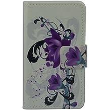Vodafone Smart 4max Case [lápiz capacitivo], lujo Wallet Titular De La Tarjeta cierre magnético Funda de piel para Vodafone Smart 4max (diseño de flores, color morado)