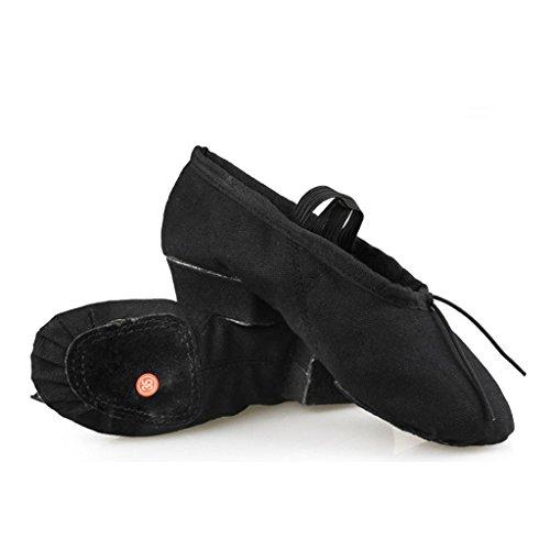 Wgwioo Soft Canvas Ballets Dance Split Flat Shoes Gymnastique Dancing Chaussons Girls Women Ladies À Différentes Tailles Entraînement Intérieur Yoga Strap Pack Of 2 , Black , 38