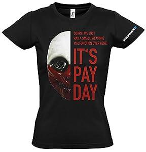 PayDay 2 GE1739L 2 del lobo de la Mujer de la máscara grande Camiseta, Negro (GE1739L)