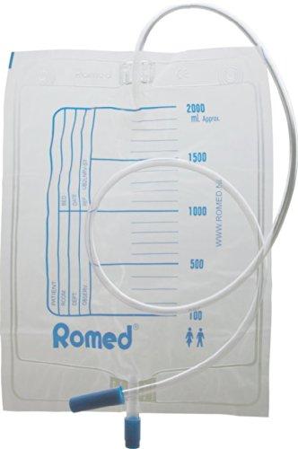 Urinbeutel 2,0 Liter mit Ablaufventil einzeln steril in Folie verpackt CE Romed(Menge: 100 Stück)