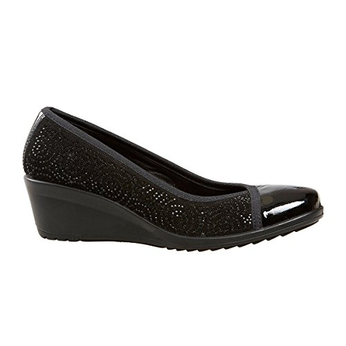 Van Dal Shoes Womens Angelica Wedges in Black Suede / Patent