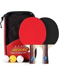VGEBY1 Estafa de Tenis de Mesa 1 par, Paleta con 3 Bolas, Estuche de Madera de la Paleta del álamo del Palo del Ping-Pong del Palo Largo