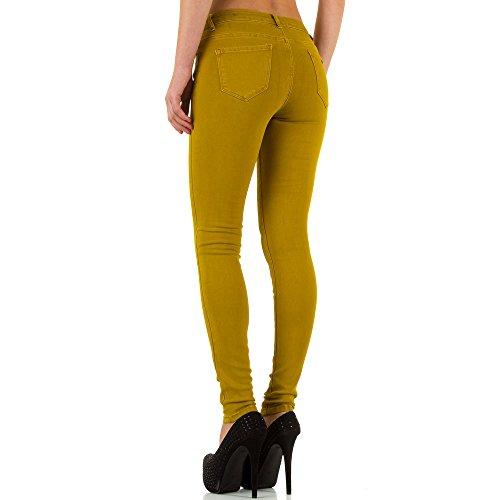 Damen Jeans, USED LOOK HÜFT SKINNY JEANS, KL-J-25322BX Gelb