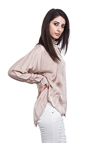 Abbino A043 Damen Blusen Shirts Tops - Made in Italy - 5 Farben - Frühjahr Sommer Herbst Damenshirts Damenblusen Damentops Feminin Sexy Spitze Festlich Elegant Langarm Unifarben Sale Rosa