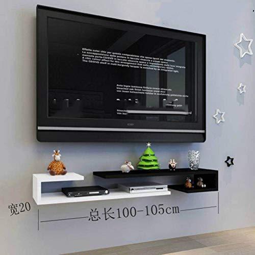 BinLZ Wandmontage Laminat Tv-Schrank Farbe Set-Top-Box Rahmen Wanddekoration Modernen Minimalistischen Versenkbaren Rack Wandbehang, Black White