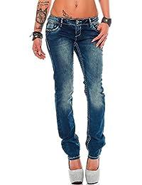 Cipo & Baxx Damen Jeans Hose Hüftjeans Skinny Regular Fit Stretch