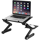 ASkyl T-6 Aluminum Alloy Adjustable Laptop Table With 2 USB Cooling Fan & Mouse Pad (Black)