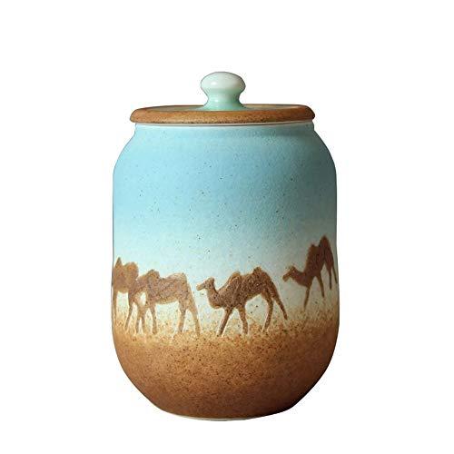 ZYHJAMA Funérailles de crémation de Taille Moyenne pour Les Cendres humaines Urn et Les Pots de crémation en céramique pour Animaux de Compagnie (Desert Camel)