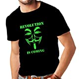 Männer T-Shirt The Revolution Is Coming - the Anonymous hackers mask (Small Schwarz Grün)
