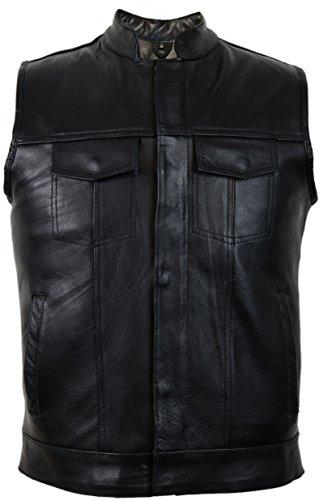 Jeans Lederweste aus echtem Rindsleder (5XL)