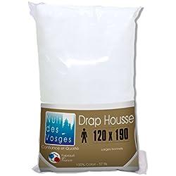 Nuit des Vosges 2094473 Cotoval Drap Housse Uni Coton Blanc 120 x 190 cm