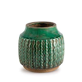 Black Velvet Studio Jarrón Cerámica Decorativo Color Verde – Florero Moderno Vintage para Hogar Oficina Sala Mesa con Grabado Étnico Modelo Alpes 13 * 13 * 13cm.