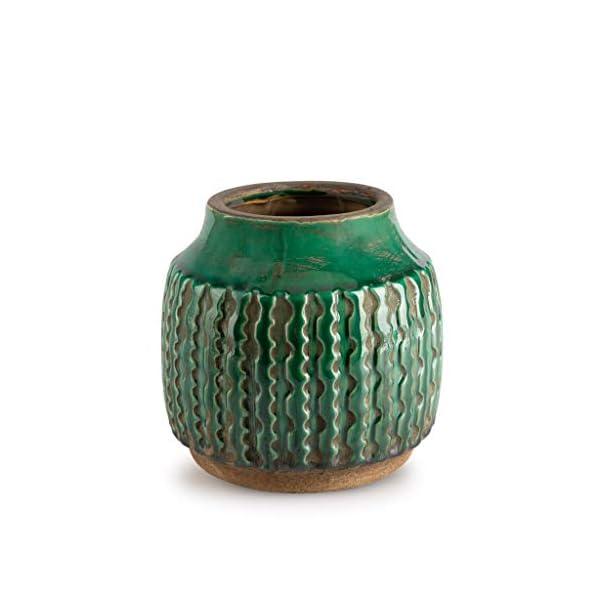 Black Velvet Studio Jarrón Cerámica Decorativo Color Verde – Florero Moderno Vintage para Hogar Oficina Sala Mesa con…