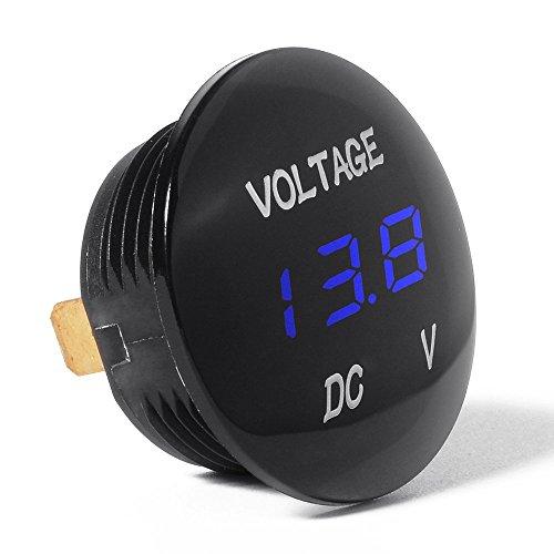 Voltmètre Voltage Numérique RAXFLY Testeur Batterie Professionnel DC 12V-24V pour Voiture Moto Auto -Bleu