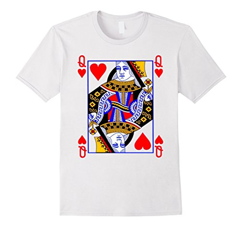 Queen Playing Costume Card (Queen of Hearts Playing Card Poker Card Costume Tee Shirt Herren, Größe M)