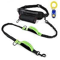 Szelam Laisse pour chien mains libres pour course à pied avec réglable multifonctionnel Sac de ceinture, réfléchissant élastique Laisse pour chien avec 2poignées pour chiens Marche d'entraînement (1Extra Sifflet Clicker)